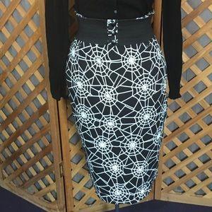 Spider Web Wiggle Skirt Goth Pinup Retro Halloween